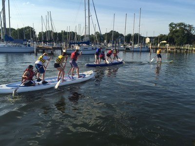 Wounded veterans recently competed as teams during a monster stand-up paddleboarding program gathering with Wounded Warrior Project in Middle River, Maryland.