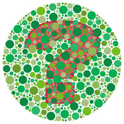 Despite the name, color blindness is not a type of blindness, but an inability to see colors accurately. This is a picture of a popular color vision test. (PRNewsFoto/American Academy of Ophthalmology) (PRNewsFoto/AMERICAN ACADEMY OPHTHALMOLOGY)