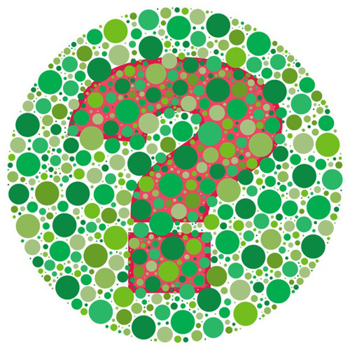 Despite the name, color blindness is not a type of blindness, but an inability to see colors accurately. This is a picture of a popular color vision test.  (PRNewsFoto/American Academy of Ophthalmology)