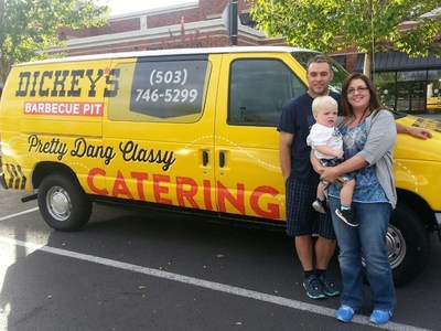 Todd Saperstein with his wife, Jessica and their son, Austin outside their new Dickey's Barbecue Pit in Beaverton. The new location opens Thursday with a three day grand opening.