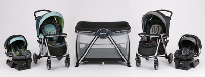 "New from Aprica: Moto Lightweight Travel System and Haven OpenAir Playard. Available at Babies""R""Us. www.aprica.com"