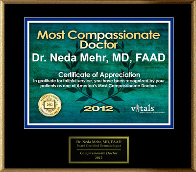 Patients Honor Dr. Neda Mehr for Compassion.  (PRNewsFoto/American Registry)