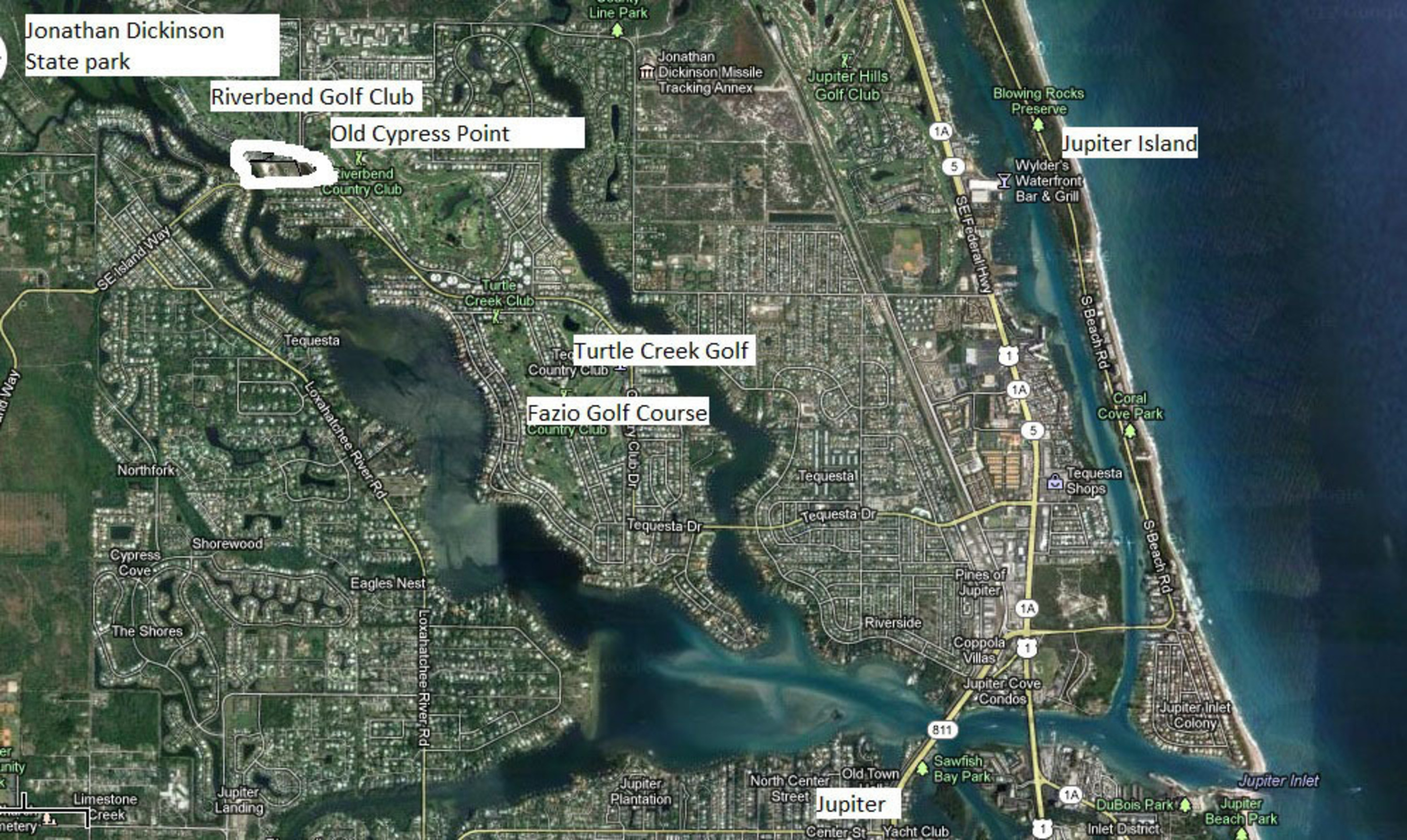 Jupiter and Tequesta on the Loxahatchee River in  Florida. Next to Jonathan Dickinson State Park. At the end of the North fork of the river which gives easy access to the Atlantic ocean is Old Cypress Pointe, a small private luxury enclave surrounded by  ...
