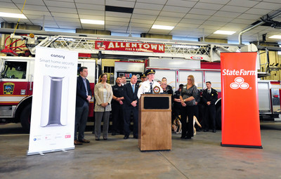 Allentown Assistant Police Chief Gail Struss speaks to a crowd of supporters and first responders in Allentown, PA during the press conference for Protect the Protectors. Canary and State Farm are providing home security devices to first responders across the country.