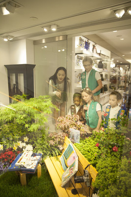 """On the first day of spring, Girl Scouts of the USA reveal new """"Girls' Choice"""" Art in the Outdoors badges, which are brought to life in a Girl Scout Garden at Macy's 42nd Annual Flower Show."""