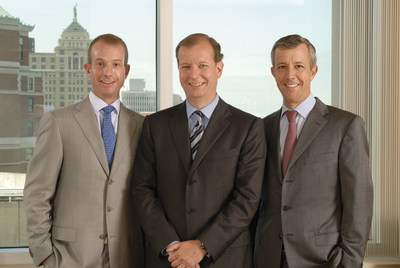 Louis Jacobs, right, and Jeremy Jacobs Jr., center, have been named as co-chief executive officers for Delaware North, one of the largest privately held global hospitality and food service companies in the world. This post has been held by their father since 1968. Charlie Jacobs, left, will become chief executive officer for Delaware North's Boston Holdings, which include TD Garden, New England Sports Network (NESN), the Boston Bruins and strategic real estate holdings. Jeremy Jacobs will continue in the role of chairman of Delaware North and its holdings and as owner of the Boston Bruins. (PRNewsFoto/Delaware North) (PRNewsFoto/Delaware North)