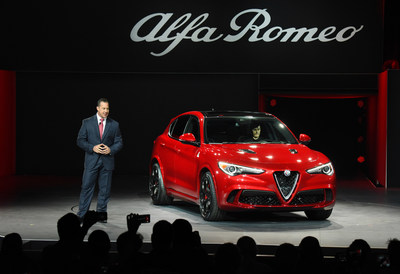 "2018 Alfa Romeo Stelvio World Debut. Reid Bigland, Head of Alfa Romeo, reveals the all-new 2018 Alfa Romeo Stelvio in front of global media at the L.A. Auto Show, Nov. 16, 2016. Stelvio Quadrifoglio – the ""halo"" model in the lineup – continues to highlight Alfa Romeo's performance and motorsport expertise with a best-in-class, Ferrari-derived 505-horsepower engine, powering it from 0-60 mph in just 3.9 seconds with a top speed of 177 mph. On sale in 2017, all Stelvio models come standard with the innovative Q4 all-wheel-drive system."