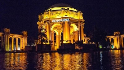 #BeAModelMan images on San Francisco landmarks (here Palace of Fine Arts) uses focus of Super Bowl week to promote anti-violence message.