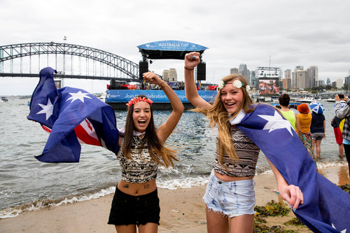 26/1/2014. Australia Day Sydney. Fans celebrate Australia Day on Sydney Harbour with local artists on floating ...