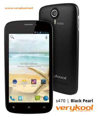 The verykool (R) s470 Black Pearl from InfoSonics is engineered to be competitive with the most popular smartphones on the market today. Powered by a 1.2 GHz quad core processor, the Android 4.2 (Jelly Bean) operating system and a suggested retail price of $229 (U.S.), the s470 is a fraction of the cost of its competition from Motorola, Samsung and Apple giving consumers more freedom of choice by eliminating the need to sign long-term and often expensive contracts to get subsidized phones.  (PRNewsFoto/InfoSonics Corporation)