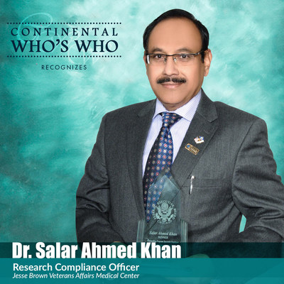Salar Ahmed Khan, MD, MBA is recognized by Continental Who's Who