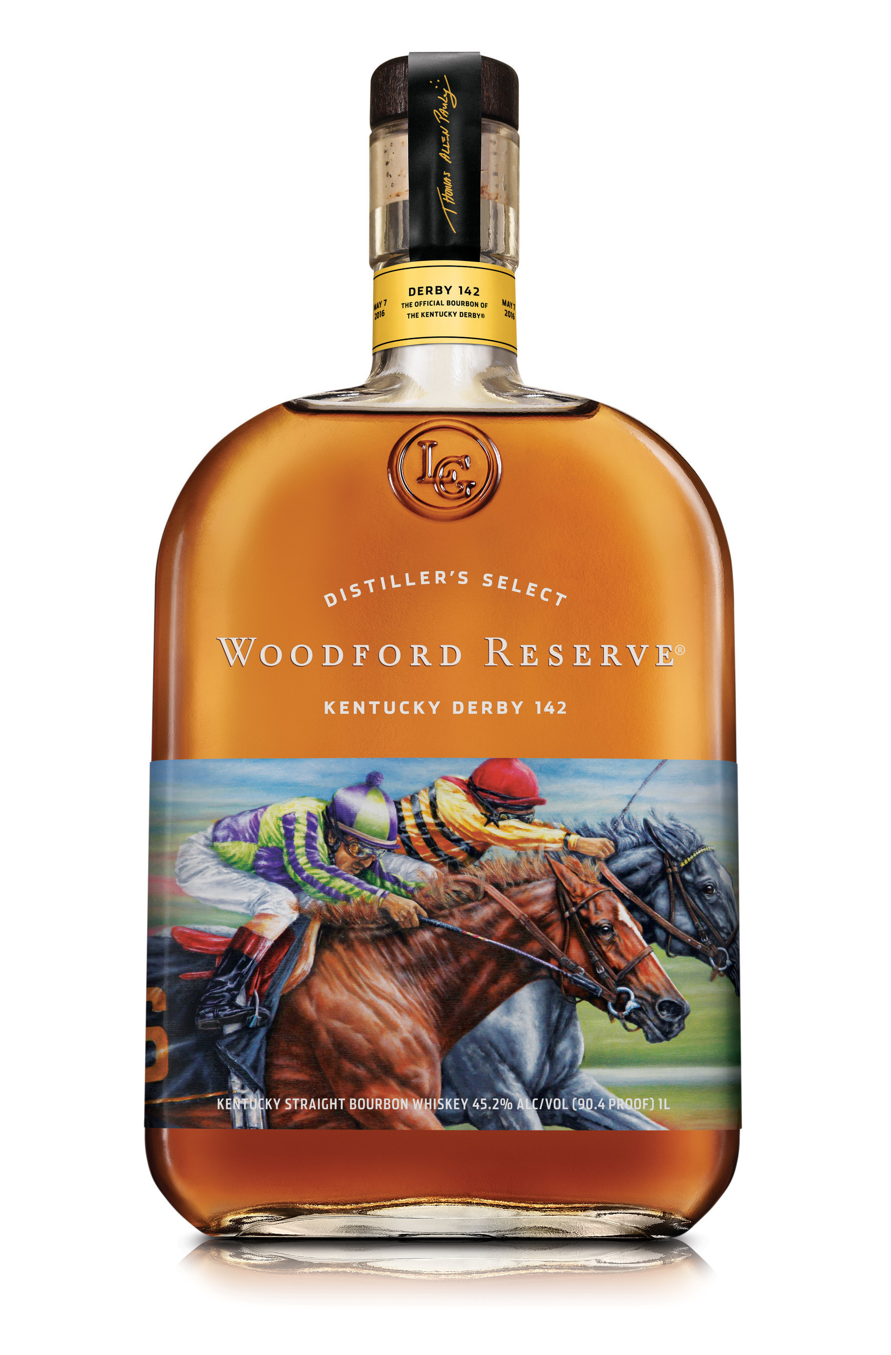 """Woodford Reserve(R), the Official Bourbon of the Kentucky Derby(R), is honoring this year's """"Run for the Roses""""(TM) with the release of its 2016 Kentucky Derby commemorative bottle.  This year's limited-edition Woodford Reserve Kentucky Derby bottle features artwork from award-winning equine artist Thomas Allen Pauly."""