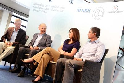 The Mars-hosted panel discussion focused on the role of collaboration in science. It featured the views of Dudley Herschbach, Chemistry Nobel Laureate (Centre Left), Chris Nagel, Founding Scientist of Continuum Energy Technologies (Right), and Amanda Peter Randles, a PhD student from Harvard University (Centre Right). The panel was moderated by Adam Smith, the Editorial Director of Nobel Media (Left).