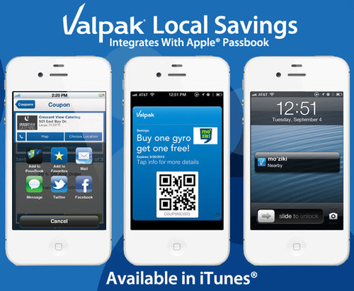 Valpak integrates local coupons in new Apple Passbook.  (PRNewsFoto/Cox Target Media)