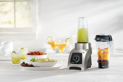 The Vitamix S55, a high-performance personal blender, takes the guesswork out of blending. Equipped with two unique containers and four pre-programmed settings for Smoothies, Power Blends, Dips & Spreads and Frozen Desserts, plus an automatic shut-off, the S55 makes it easy to achieve perfect results for every meal of the day.