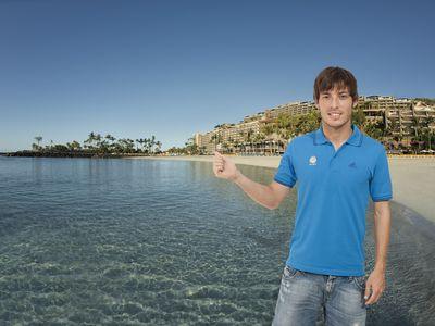 David Silva at Anfi Beach, Gran Canaria