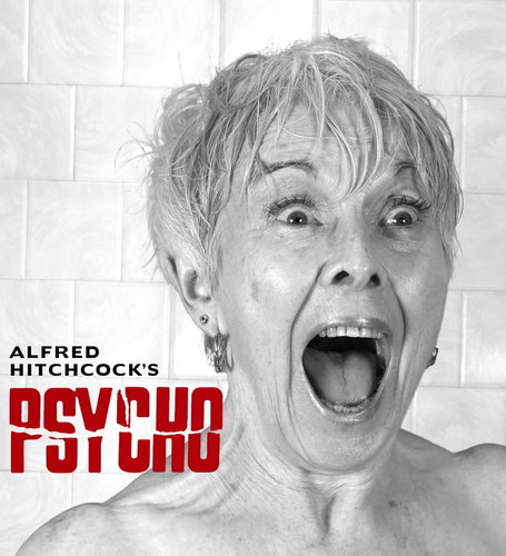 An ExtraCare Charitable Trust Shenley Wood Village resident poses for the Hitchcock Thriller Psycho for the Villageâeuro(TM)s 2015 Hollywood Calendar (PRNewsFoto/The ExtraCare Charitable Trust)