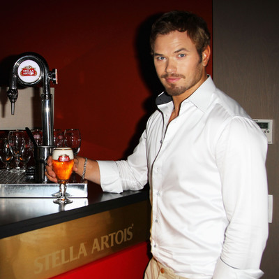 Kellan Lutz visits Stella Artois Cannes Cinema Club.  (PRNewsFoto/Stella Artois)