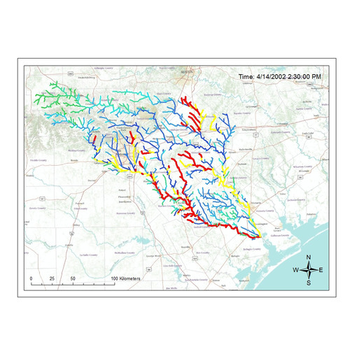 In just one hour, IBM Research's new river modeling technology could crunch enough data to help predict a storm's potentially damaging consequences, such as flooding, days ahead of the actual event. The colored lines in this photo indicate a rain storm and the increasing depth of the rivers. The highlighted sections show areas with the highest potential for flooding. Austin, IBM.  (PRNewsFoto/IBM)