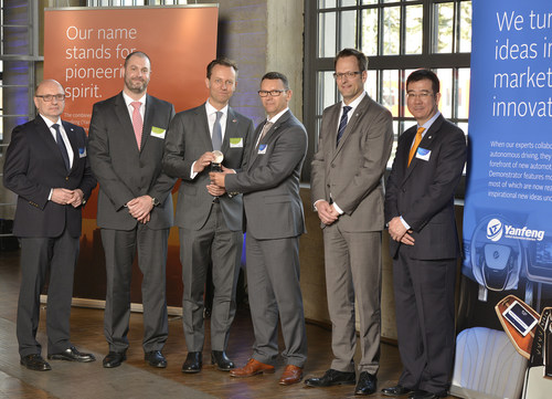 The supplier IEE S.A. from Luxembourg, an innovative developer of specialized sensor systems, was honored from Yanfeng Automotive Interiors with the Leadership Award in the Innovation category. from left to right: Johannes Roters, CEO at YFAI, Marco Ney, Business Development Manager at IEE S.A., Dr. Claus-C. Kedenburg, Executive Vice President Commercial Sales, Marketing and Business Development at IEE S.A., Dr.-Ing. Oliver Becker, Executive Director Process Innovation at YFAI, Gunnar Buechter, Director Procurement und Joseph Lee, Vice President and Deputy General Manager Europe & South Africa (both Yanfeng Automotive Interiors). (PRNewsFoto/Yanfeng Automotive Interiors) (PRNewsFoto/Yanfeng Automotive Interiors)