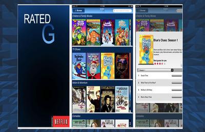 "Screenshots of ""Rated G for Netflix"" iPad app.  (PRNewsFoto/AdvanTech Media)"