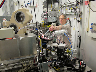 Monica Tischler, Ph.D., professor of Biology at Benedictine University, discusses the alignment of a sample during research using the Advanced Photon Source at Argonne National Laboratory.