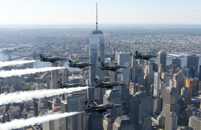 The Breitling Jet Team fly in formation over the Freedom Tower at the World Trade Center in New York City. The Breitling Jet Team is the world's largest professional civilian jet flight team. (Andy Wolfe/Breitling)