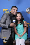 Champion boxer/ actor Victor Ortiz chats with 15-year-old MDA Ambassador Abbey Umali on the blue carpet at the 2014 MDA Show of Strength Telethon. The 49th annual broadcast airs Sunday, Aug. 31 9|8c on ABC stations nationwide to raise funds and awareness in support of MDA's mission to save and improve the lives of children and adults fighting muscle disease. (PRNewsFoto/Muscular Dystrophy Association)