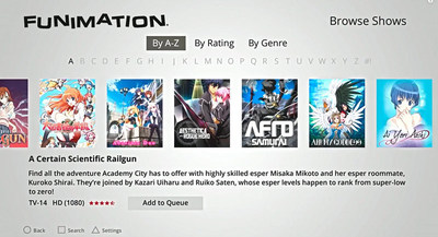 FUNimation PS4 App Screen Capture: Search Screen.