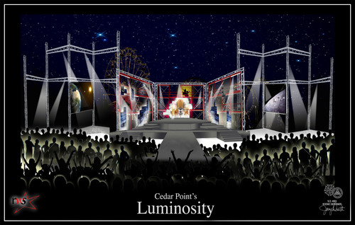 This conceptual artist rendering shows the Luminosity stage, where 30 talented performers will entertain guests as special effects light up the night at Cedar Point.  (PRNewsFoto/Cedar Point)