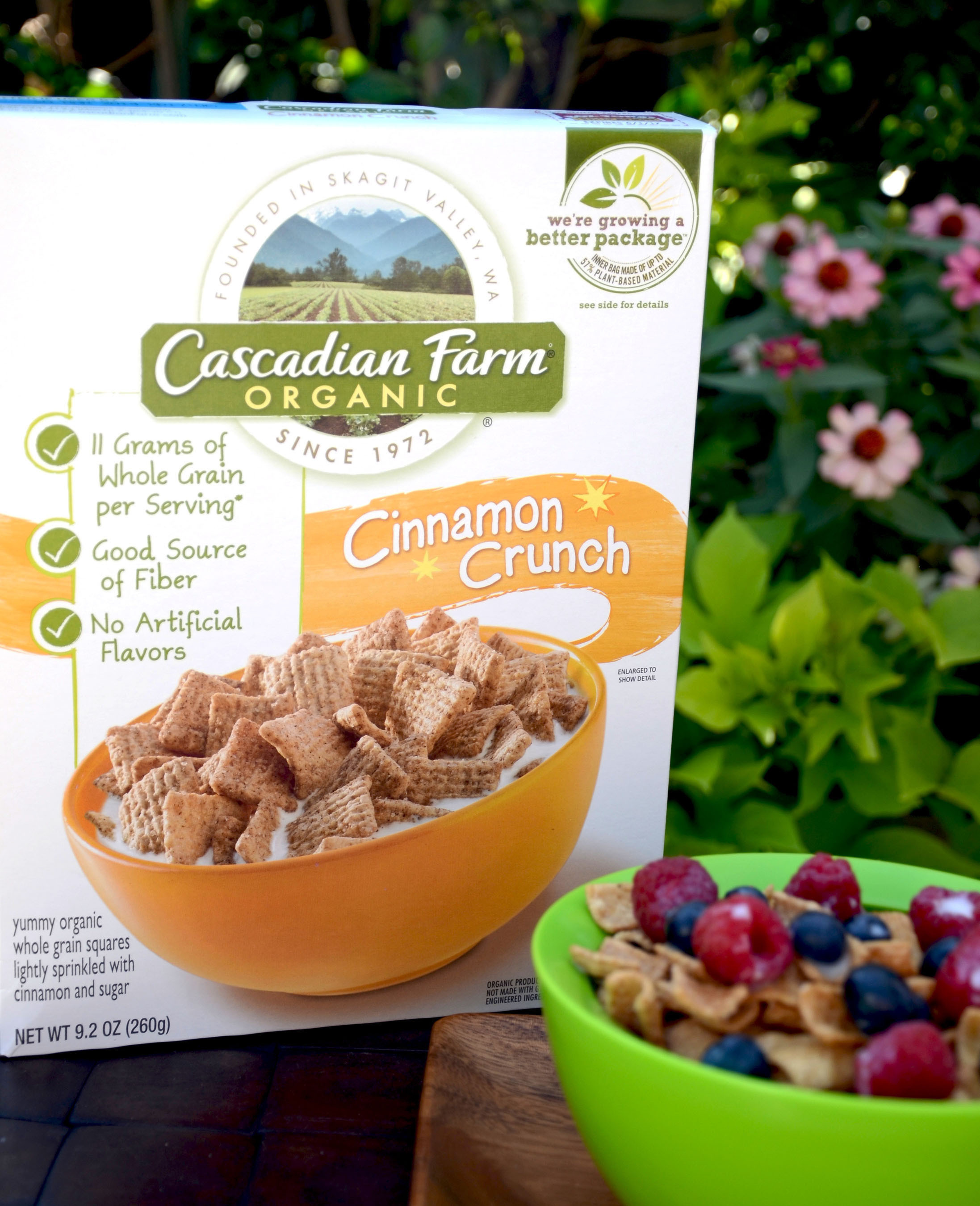 Cascadian Farm Goes Green with the First-Ever Cereal Box Liner Made from Renewable Plant Sources.   (PRNewsFoto/Cascadian Farm)