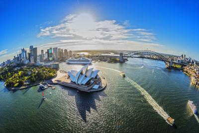 Aerial of Sydney Opera House, Royal Botanic Gardens and the Sydney Harbour Bridge