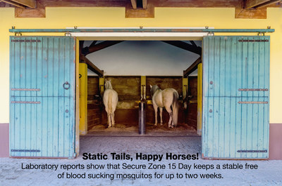 Static Tails, Happy Horses - Laboratory reports show that Secure Zone 15 Day keeps a stable free of blood sucking mosquitoes for up to two weeks