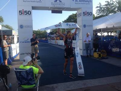 Sarah Haskins of Clermont, Florida wins her fifth St. Anthony's Triathlon