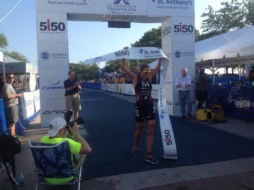 Sarah Haskins of Clermont, Florida wins her fifth St. Anthony's Triathlon (PRNewsFoto/BayCare Health System)