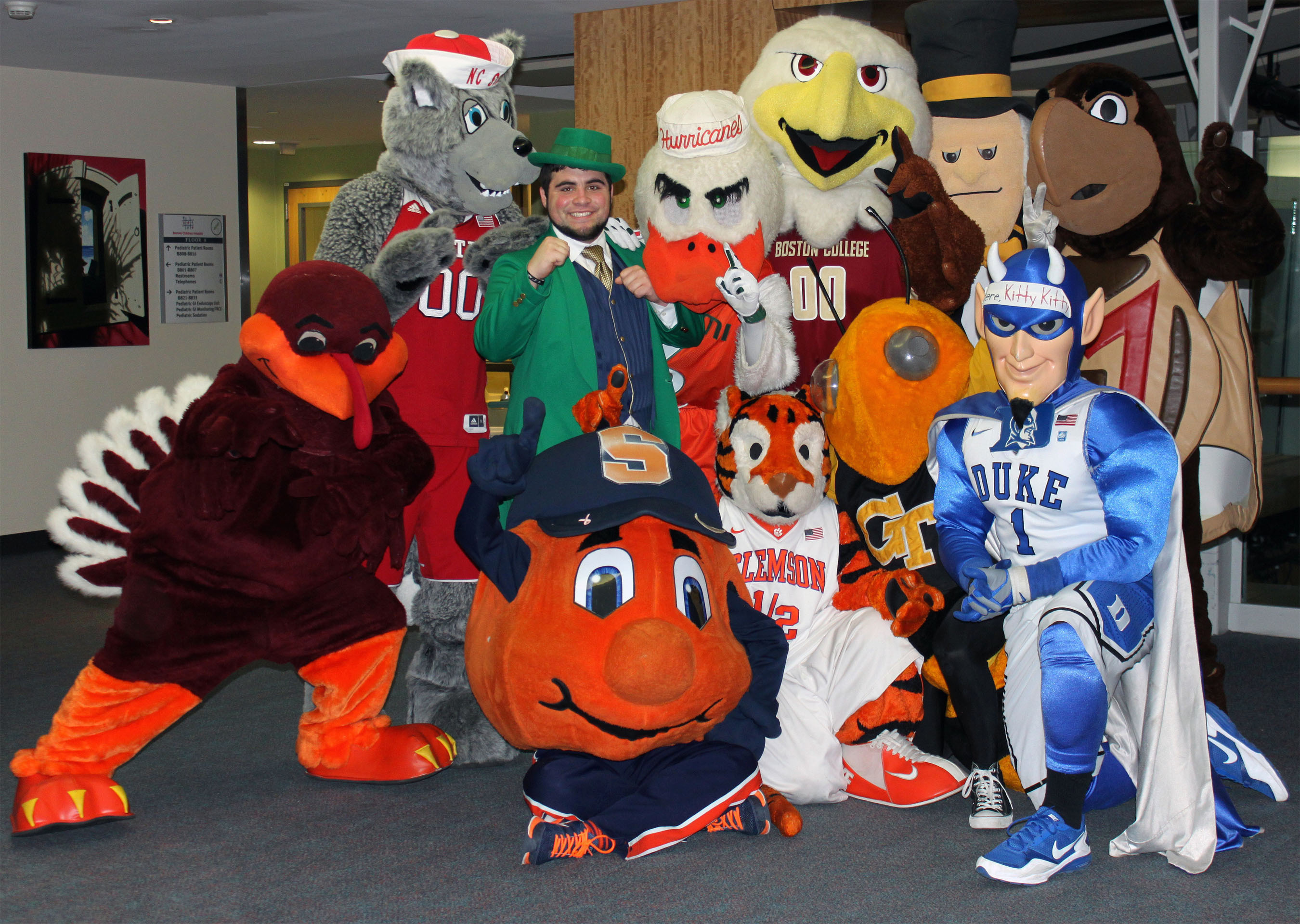 Mascots of the Atlantic Coast Conference strike a pose during their visit to Brenner Children's Hospital. The mascots stopped by as part of an outreach initiative for the 2014 ACC Men's Basketball Tournament. (PRNewsFoto/Wake Forest Baptist Medical Center) (PRNewsFoto/WAKE FOREST BAPTIST MEDICAL ...)