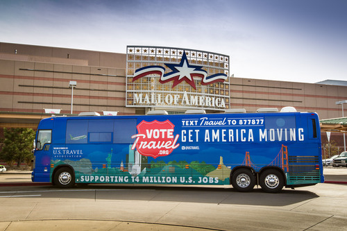 U.S. Travel's 'Vote Travel' Bus Tour Stops at Mall of America® in Bloomington, Minn. to Promote
