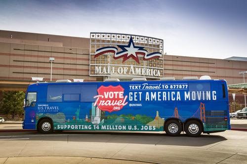 "U.S. Travel's ""Vote Travel"" Bus Stops at Mall of America.  (PRNewsFoto/Mall of America)"