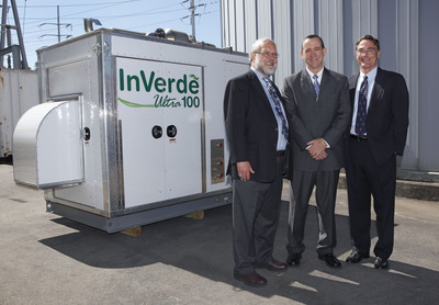 California Energy Commission Chairman Dr. Robert Weisenmiller, Robert Panora, President of Tecogen and Jeff Reed, Director of Emerging Technologies at SoCalGas, gather to unveil Tecogen's InVerde Ultra 100.  (PRNewsFoto/Tecogen Inc.)