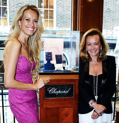 Happy Hearts Fund Founder and Chairperson Petra Nemcova and Chopard Co-President and Artistic Director Caroline Scheufele celebrate the launch of their new partnership at the Chopard Boutique on New Bond Street in London on Wednesday night. Available soon in Chopard Boutiques worldwide, proceeds from the sale of a special edition Happy Diamonds bracelet will help rebuild schools and the lives of children after natural disasters. Learn more at www.happyheartsfund.org.