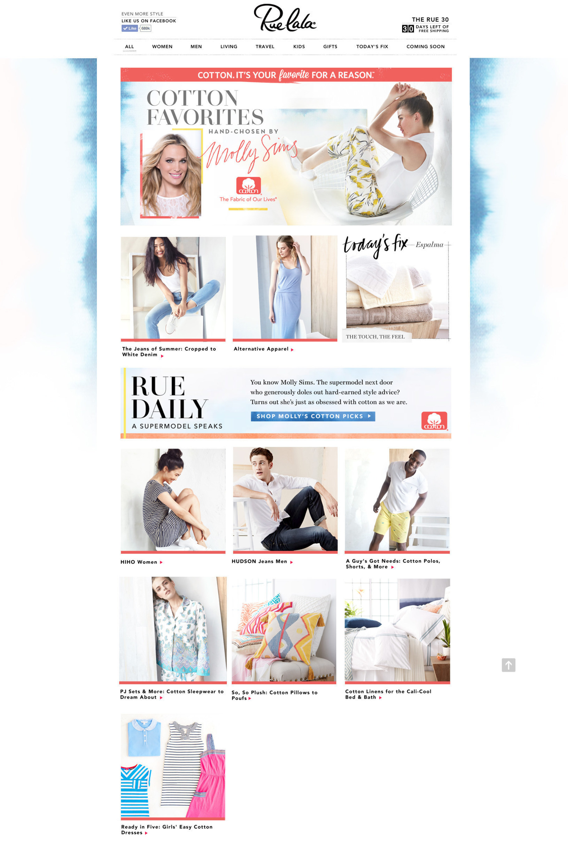 "Rue La La, a leading ecommerce destination, today announces actress, model and author Molly Sims as the face of its ""Cotton. It's Your Favorite for a Reason.(SM)"" campaign with Cotton Incorporated."