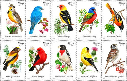 You don't need a smartphone to tweet once the Postal Service issues 10 colorful Songbirds Forever Stamps. The dedication ceremony takes place at 10:30 a.m. Sat. April 5 in Dallas at the Trinity River Audubon Center.The stamps depict: the western meadowlark, the mountain bluebird, the western tanager, the painted bunting, the Baltimore oriole, the evening grosbeak, the scarlet tanager, the rose-breasted grosbeak, the American goldfinch and the white-throated sparrow.  (PRNewsFoto/U.S. Postal Service)