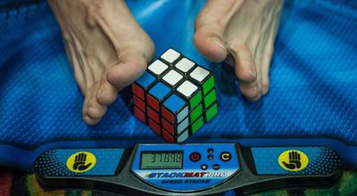 Around 600 competitors attended the Rubik's Cube World Championship in Las Vegas. One of the competition events was solving the Rubik's Cube using just your feet.