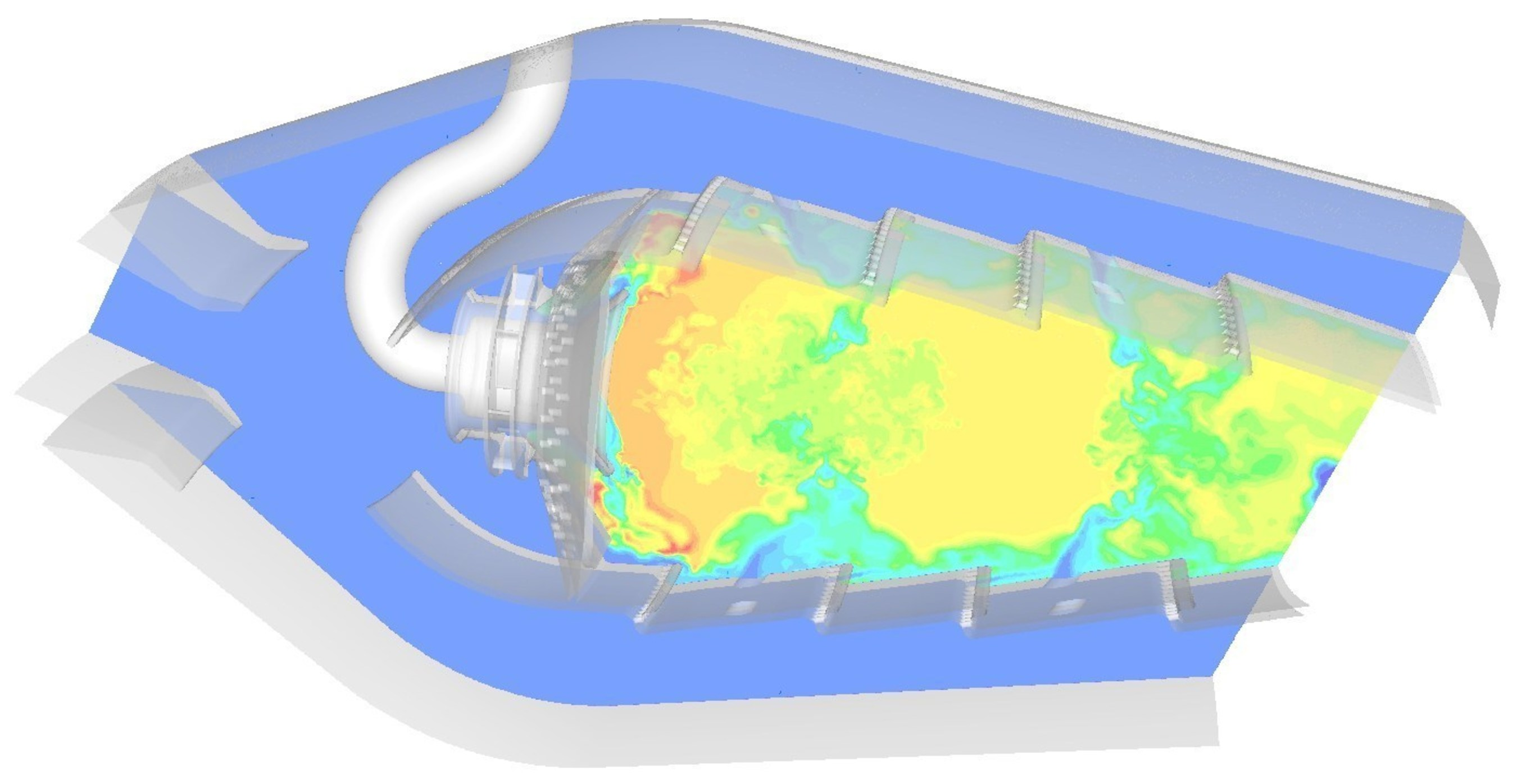 Gas turbine combustor model using ANSYS Fluent involving complex physics including transient, turbulent flow, mixing of multiple chemical species and turbulence-chemistry interaction.