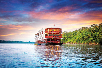 As part of the new 12-day, 11-night Ecuadorian adventure, featuring the Amazon and Galapagos Islands, guests will spend four nights on a river cruise on the Anakonda riverboat to explore the tropical rainforest. From the riverboat, they can opt to venture forth by motorized canoe to a lush world where they might see a 3-toed sloth or one of the Amazon's famed pink river dolphins. (Maryna Marsto, Photographer) (PRNewsFoto/Adventures by Disney)