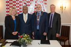 Tech Mahindra to help make Milton Keynes a smart city. In the picture L to R : Carole Mills, Chief Executive, Milton Keynes Council, CP Gurnani, MD & CEO, Tech Mahindra, Derek Eastman, Mayor of Milton Keynes and Pro Vice-Chancellor for Research at The Open University, Professor Tim Blackman
