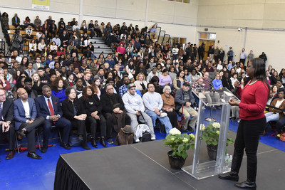 Sybrina Fulton, mother of Trayvon Martin, addresses an audience of Bunker Hill Community College students, faculty, staff and guests in the College gymnasium on March 24, 2016.