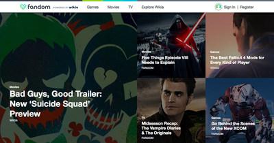 Fandom homepage (PRNewsFoto/Wikia Inc.)