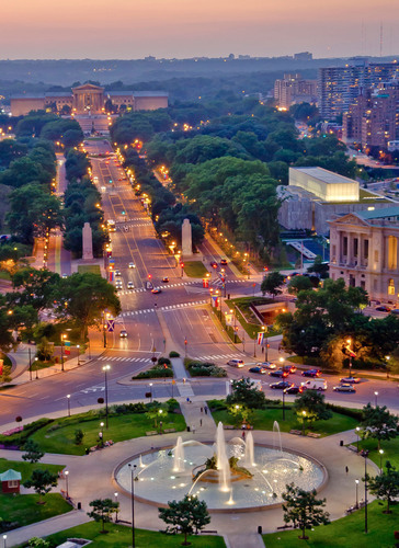 The Philadelphia Museum of Art crowns the city's illuminated Benjamin Franklin Parkway. The culturally rich  ...
