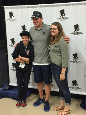 Dallas Cowboys Tight End Jason Witten meets Lisa Crowder's two daughters. Witten met with a group of warriors and their families recently at a Wounded Warrior Project event.